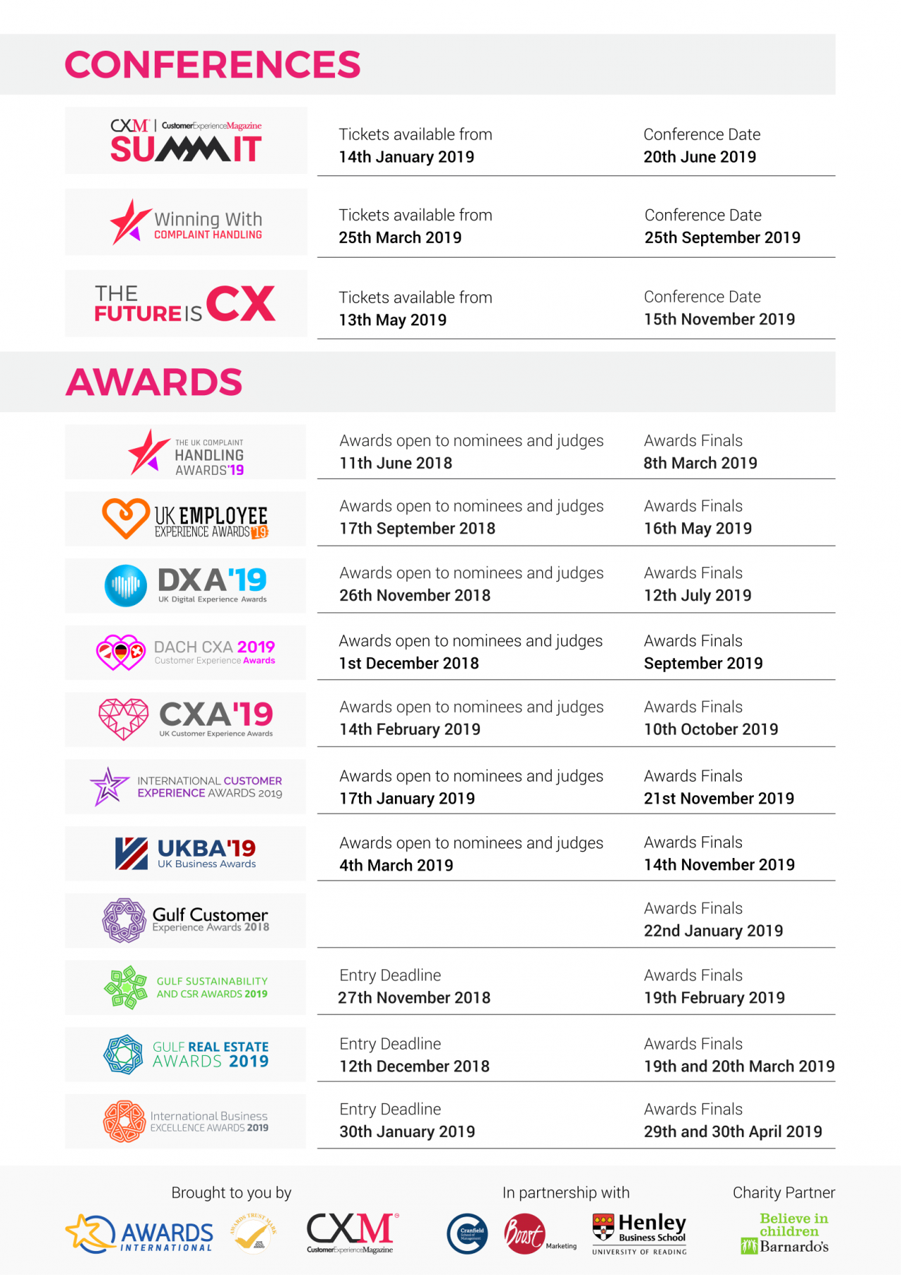 Awards International 2019 calendar